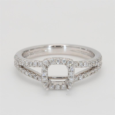 Ladies' Engagement Ring Setting 0.40tw  18K White Gold