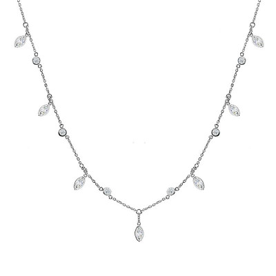 Drops By The Yard Collection, Ladies' Diamond Fashion Necklace 0.92tw  18K White Gold