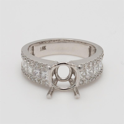Ladies' Engagement Ring Setting 1.67tw  18K White Gold
