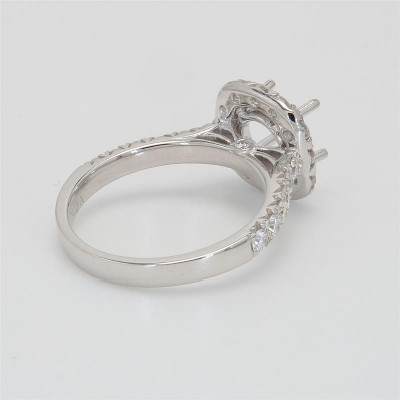 Ladies' Engagement Ring Setting 0.93tw  18K White Gold