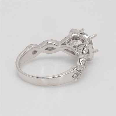 Ladies' Engagement Ring Setting 0.61tw  18K White Gold