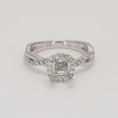 Ladies' Engagement Ring Setting 0.31tw  18K White Gold