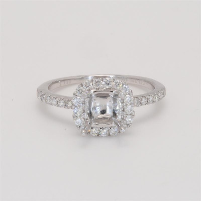 Ladies' Engagement Ring Setting 0.43tw  14K White Gold