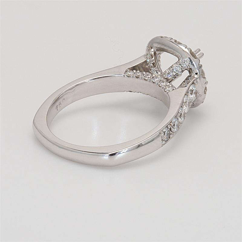 Ladies' Engagement Ring Setting 1.01tw  18K White Gold