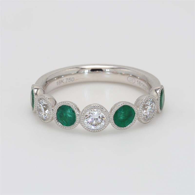 Ladies' Gemstone Half-Way Band 1.39tw  18K White Gold