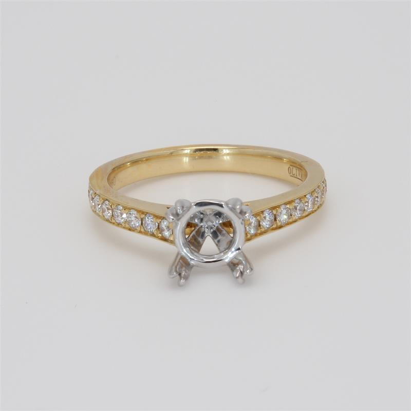 Ladies' Engagement Ring Setting 0.32tw  18K Yellow/ White Gold