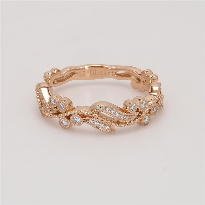 Ladies' Diamond Three-Quarter Way Band 0.17tw  18K Rose Gold