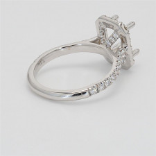 Ladies' Engagement Ring Setting 0.78tw  18K White Gold