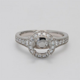 Ladies' Engagement Ring Setting 0.58tw  18K White Gold