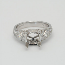 Ladies' Engagement Ring Setting 0.71tw  18K White Gold