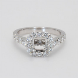 Ladies' Engagement Ring Setting 0.86tw  18K White Gold