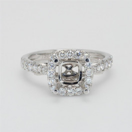 Ladies' Engagement Ring Setting 0.55tw  18K White Gold