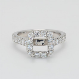 Ladies' Engagement Ring Setting 1.09tw  18K White Gold