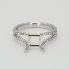 Ladies' Engagement Ring Setting 0.32tw  18K White Gold