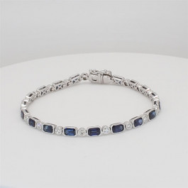 Ladies' Gemstone Bracelet 7.23tw  18K White Gold