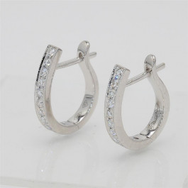 Ladies' Diamond Huggie Earrings 0.32tw  18K White Gold