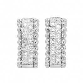 Bead It, Ladies' Diamond Huggie Earrings 0.82tw  14K White Gold