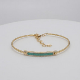 LA Hip, Ladies' Gemstone Bangle 0.83tw  14K Yellow Gold
