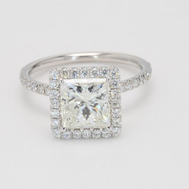 Semi Mount 3.03 CT Princess Cut Halo Engagement Ring