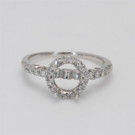 Ladies' Engagement Ring Setting 0.58tw  14K White Gold