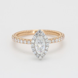 Marquise Cut Moissanite with .46D Diamond Halo Engagement Ring
