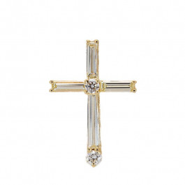 Ladies' Cross Pendant 0.55tw  18K Yellow Gold
