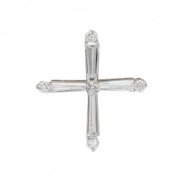 Ladies' Cross Pendant 0.82tw  18K White Gold