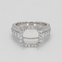 Ladies' Engagement Ring Setting 1.51tw  18K White Gold