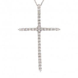 Ladies' Cross Pendant 1.00tw  18K White Gold