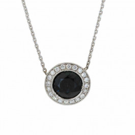 Ladies' Gemstone Pendant 1.89tw  18K White Gold