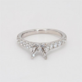 Ladies' Engagement Ring Setting 0.54tw  18K White Gold