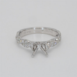Ladies' Engagement Ring Setting 0.50tw  18K White Gold