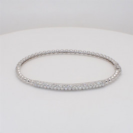 Bead It, Ladies' Diamond Bangle 1.03tw  18K White Gold