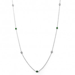 Ladies' Gemstone Necklace 0.78tw  18K White Gold