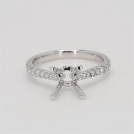 Ladies' Engagement Ring Setting 0.27tw  18K White Gold