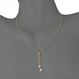 LA Hip, Ladies' Gemstone Necklace 0.12tw  14K Yellow Gold