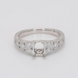 Ladies' Engagement Ring Setting 0.15tw  14K White Gold