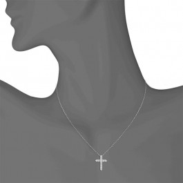 Ladies' Cross Pendant 0.25tw  14K White Gold