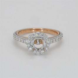 Ladies' Engagement Ring Setting 0.64tw  18K White/ Rose Gold