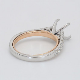 Ladies' Engagement Ring Setting 0.64tw  14K White/ Rose Gold