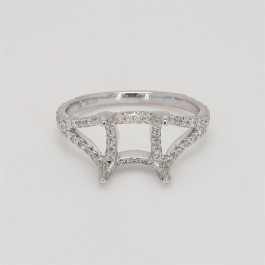 Ladies' Engagement Ring Setting 0.73tw  18K White Gold