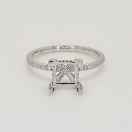 Ladies' Engagement Ring Setting 0.26tw  18K White Gold