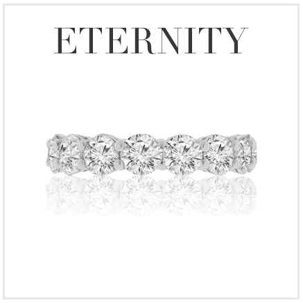 eternity diamond ring with reflection