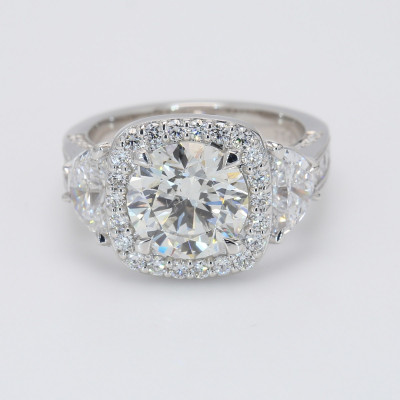Semi Mount 2.51 CT Round Halo Engagement Ring