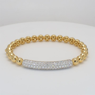 Bead It, Ladies' Diamond Bangle 1.95tw  18K Yellow/ White Gold
