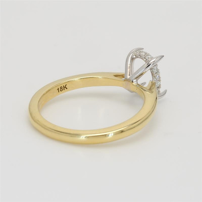Ladies' Engagement Ring Setting 18K Yellow/ White Gold
