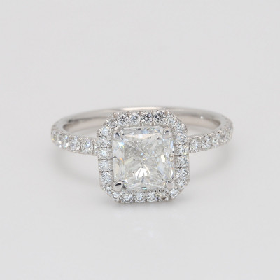 Radiant Cut Diamond Halo Engagement Ring set in White Gold