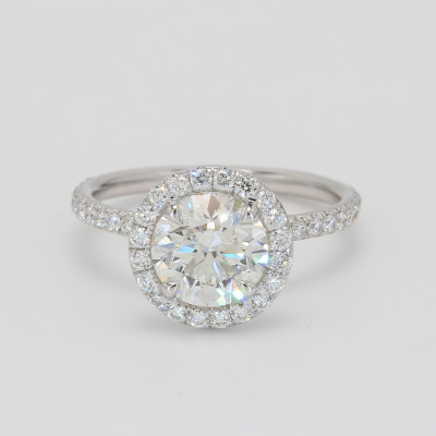 Round Brilliant Diamond Halo Engagement Ring in White Gold