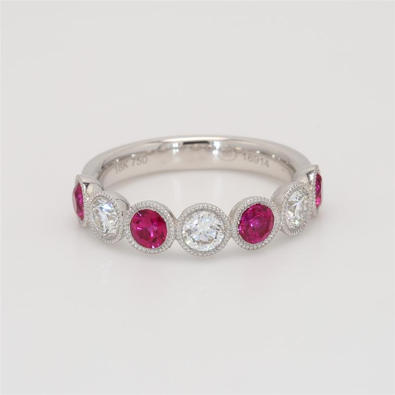 Ladies' Gemstone Half-Way Band 1.46tw  18K White Gold