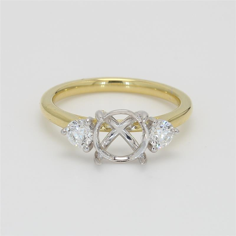 Ladies' Engagement Ring Setting 0.41tw  18K Yellow/ White Gold